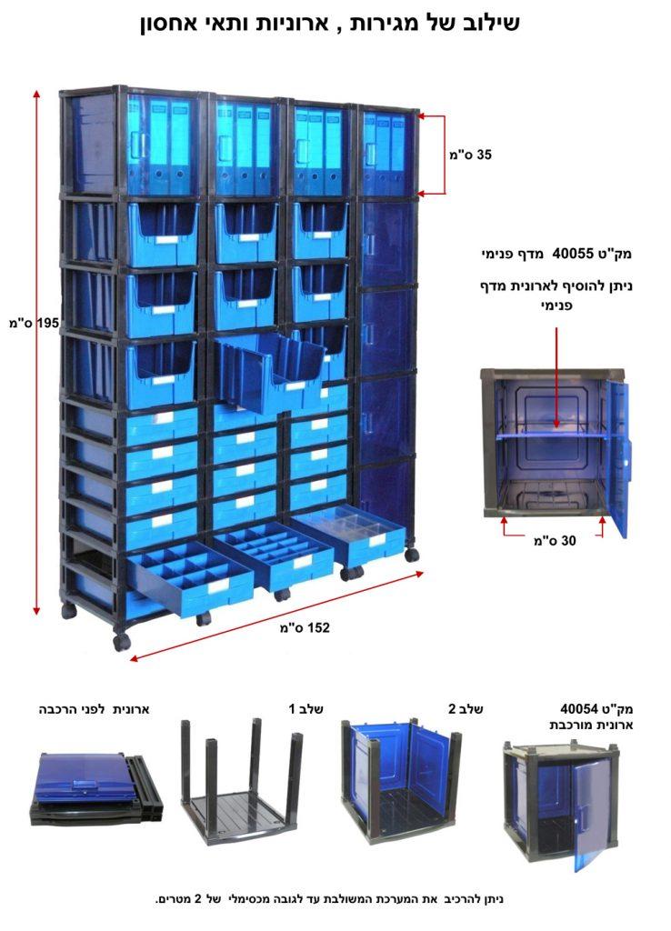 מערכת אחסון משולבת מגירות וארונות פלסטיק בגדלים שונים . פתרונות אחסון כלי עבודה | פתרונות אחסון ומידוף למחסן | פתרונות אחסון לרכב | פתרונות אחסון למשרד | פתרונות אחסון חכמים | פתרונות אחסון לבית | פתרונות זיווד לרכב מסחרי | מערכת אחסון מפלסטיק לבניית מחסנים ושטחי אחסון ללא צורך במידוף מתכת | מערכת אחסון מודולרית מאפשרת שילוב של ארונות פלסטיק עם חזית שקופה, מגירות פלסטיק נשלפות, תאי פלסטיק עם אפשרות לחלוקה פנימית ובשילוב מדפים מחוזקים מפלסטיק | מגירות פלסטיק עם חלוקה פנימית. מחלק מגירות. חוצץ למגירות. הוספת מחיצות לחלוקה פנימית של המגירות. מחיצות המאפשרות לתכנן את שטחי האחסון בתוך המגירות, בהתאם לצרכים ולמוצרים המאוחסנים בתוכן | מגירות פלסטיק נשלפות, בנייה מודולרית של מגירות פלסטיק קשיחות למשקל בינוני | מערכת אחסון מודולרית לבניית מגירות פלסטיק נשלפות | תאי אחסון נשלפים | ארגזי פלסטיק עם פתח קדמי (בשמם המוכר ארקליות) | מערכת אחסון מודולרית לבניית תאי אחסון | ארגזי פלסטיק | קופסאות פלסטיק עם פתח קדמי (בשמם המוכר ארקליות) . ניתן להוסיף גלגלים לניידות מערכות האחסון.חוסך מידוף ממתכת. ניצול אופטימלי של שטחי האחסנה | מערכת אחסון מודולרית לבניית תאי אחסון | ארגזי פלסטיק | קופסאות פלסטיק עם כיסוי קדמי מוגן אבק הניתן לשליפה, ניתן להזמין קופסאות פלסטיק שקופות. אין צורך במידוף מתכת . ניצול אופטימלי של שטח המחסנים | פתרונות מידוף מודולרי – בניית מדפים מפלסטיק קשיח לאחסנה קלה בגבהים שונים . מדפי פלסטיק למחסן, לבית ולתעשייה | עגלת כלים – עגלת שירות ואחסון מודולרי, עגלה ניידת וסוגי גלגלים ניתנים להתאמה בהתאם להזמנת הלקוח. עגלת כלי עבודה מודולרית ונוחה לתפעול ולהרכבה. המבנה המודולרי הייחודי של עגלת כלים מאפשר הגדלה והוספת תאי אחסון, מגירות אחסון, ארונות אחסון בהתאם לצרכי הלקוח | עגלת כלים | עגלת מוסך. בנייה מודולרית בהתאם לצורך של אחסון כלי עבודה, חלקים, ברגים, מפתחות, כלי מכונאי מוסך. שילוב של מתקן | רשת לתליית כלי עבודה. בחירה של סוג גלגלים בהתאם לעומס ותנאי משטח העבודה | עגלת כלים – עגלות שירות ואחסון מודולרי, עגלות ניידות הניתנות להתאמה בהתאם להזמנת הלקוח. עגלות אחסון כלי עבודה נוחות לתפעול ולהרכבה. המבנה המודולרי הייחודי של עגלת כלי עבודה מאפשר הרחבת העגלה לרוחב והוספת תאי אחסו