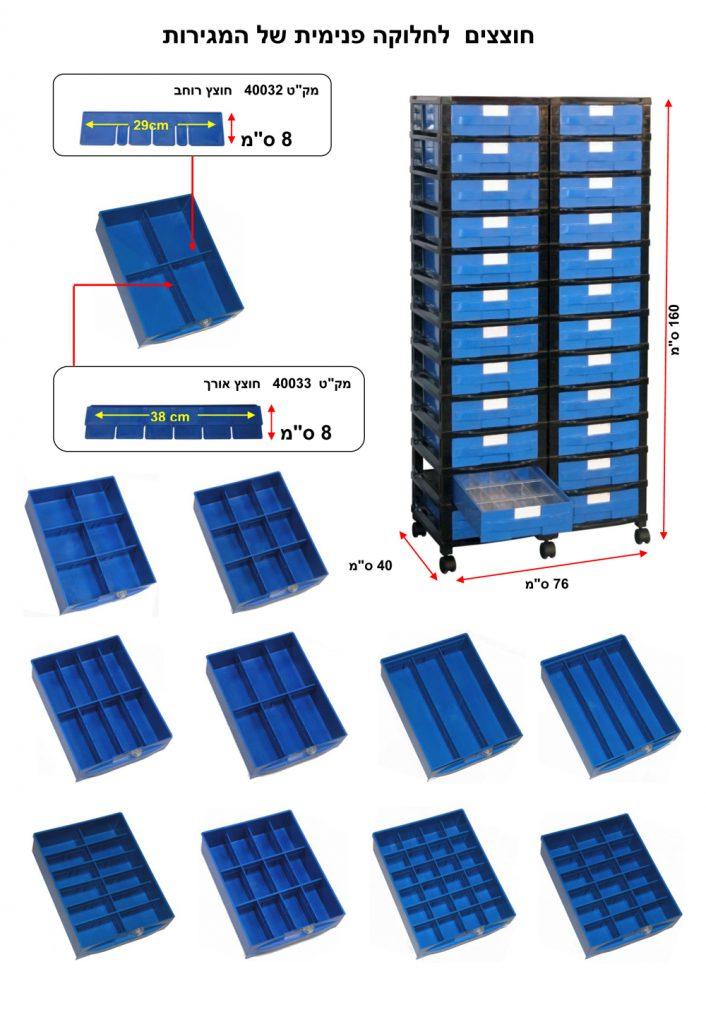 מערכת מגירות פלסטיק עם אפשרות של חלוקה פנימית בהתאם לצורך . פתרונות אחסון כלי עבודה | פתרונות אחסון ומידוף למחסן | פתרונות אחסון לרכב | פתרונות אחסון למשרד | פתרונות אחסון חכמים | פתרונות אחסון לבית | פתרונות זיווד לרכב מסחרי | מערכת אחסון מפלסטיק לבניית מחסנים ושטחי אחסון ללא צורך במידוף מתכת | מערכת אחסון מודולרית מאפשרת שילוב של ארונות פלסטיק עם חזית שקופה, מגירות פלסטיק נשלפות, תאי פלסטיק עם אפשרות לחלוקה פנימית ובשילוב מדפים מחוזקים מפלסטיק | מגירות פלסטיק עם חלוקה פנימית. מחלק מגירות. חוצץ למגירות. הוספת מחיצות לחלוקה פנימית של המגירות. מחיצות המאפשרות לתכנן את שטחי האחסון בתוך המגירות, בהתאם לצרכים ולמוצרים המאוחסנים בתוכן | מגירות פלסטיק נשלפות, בנייה מודולרית של מגירות פלסטיק קשיחות למשקל בינוני | מערכת אחסון מודולרית לבניית מגירות פלסטיק נשלפות | תאי אחסון נשלפים | ארגזי פלסטיק עם פתח קדמי (בשמם המוכר ארקליות) | מערכת אחסון מודולרית לבניית תאי אחסון | ארגזי פלסטיק | קופסאות פלסטיק עם פתח קדמי (בשמם המוכר ארקליות) . ניתן להוסיף גלגלים לניידות מערכות האחסון.חוסך מידוף ממתכת. ניצול אופטימלי של שטחי האחסנה | מערכת אחסון מודולרית לבניית תאי אחסון | ארגזי פלסטיק | קופסאות פלסטיק עם כיסוי קדמי מוגן אבק הניתן לשליפה, ניתן להזמין קופסאות פלסטיק שקופות. אין צורך במידוף מתכת . ניצול אופטימלי של שטח המחסנים | פתרונות מידוף מודולרי – בניית מדפים מפלסטיק קשיח לאחסנה קלה בגבהים שונים . מדפי פלסטיק למחסן, לבית ולתעשייה | עגלת כלים – עגלת שירות ואחסון מודולרי, עגלה ניידת וסוגי גלגלים ניתנים להתאמה בהתאם להזמנת הלקוח. עגלת כלי עבודה מודולרית ונוחה לתפעול ולהרכבה. המבנה המודולרי הייחודי של עגלת כלים מאפשר הגדלה והוספת תאי אחסון, מגירות אחסון, ארונות אחסון בהתאם לצרכי הלקוח | עגלת כלים | עגלת מוסך. בנייה מודולרית בהתאם לצורך של אחסון כלי עבודה, חלקים, ברגים, מפתחות, כלי מכונאי מוסך. שילוב של מתקן | רשת לתליית כלי עבודה. בחירה של סוג גלגלים בהתאם לעומס ותנאי משטח העבודה | עגלת כלים – עגלות שירות ואחסון מודולרי, עגלות ניידות הניתנות להתאמה בהתאם להזמנת הלקוח. עגלות אחסון כלי עבודה נוחות לתפעול ולהרכבה. המבנה המודולרי הייחודי של עגלת כלי עבודה מאפשר הרחבת העגלה לרוחב והוספת תאי 