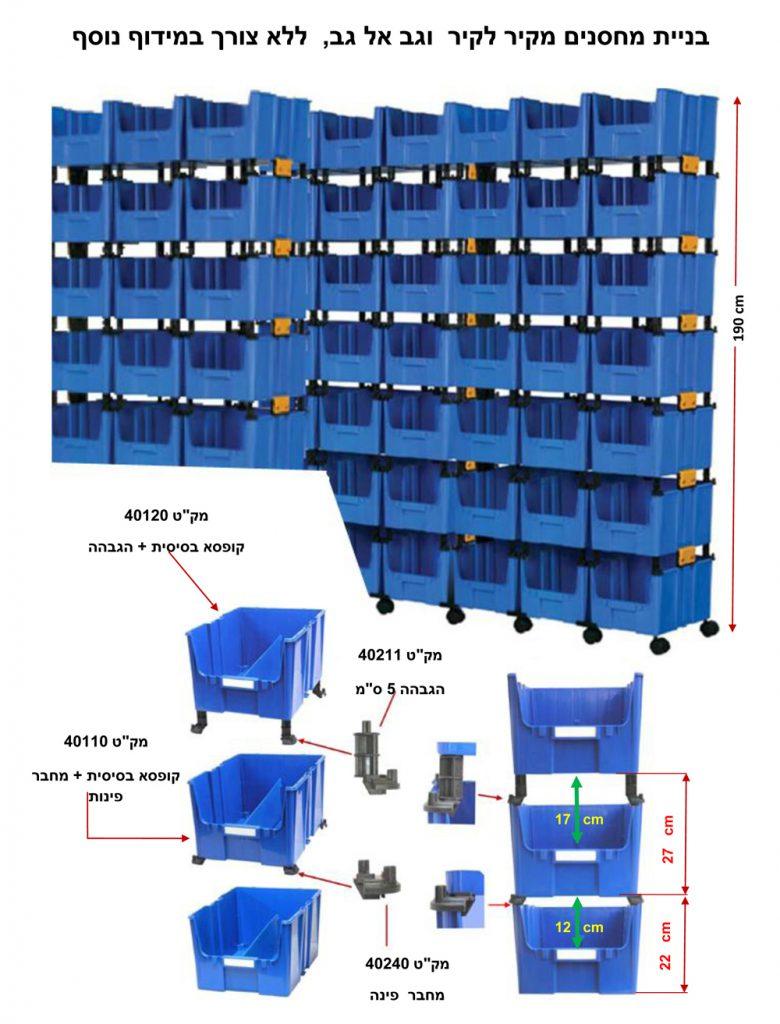 מערכת אחסון מודולרית לבניית תאי אחסון / ארגזי פלסטיק / קופסאות פלסטיק עם פתח קדמי (בשמם המוכר ארקליות) ללא צורך במידוף מתכת . ניצול אופטימלי של שטח המחסנים. . פתרונות אחסון כלי עבודה | פתרונות אחסון ומידוף למחסן | פתרונות אחסון לרכב | פתרונות אחסון למשרד | פתרונות אחסון חכמים | פתרונות אחסון לבית | פתרונות זיווד לרכב מסחרי | מערכת אחסון מפלסטיק לבניית מחסנים ושטחי אחסון ללא צורך במידוף מתכת | מערכת אחסון מודולרית מאפשרת שילוב של ארונות פלסטיק עם חזית שקופה, מגירות פלסטיק נשלפות, תאי פלסטיק עם אפשרות לחלוקה פנימית ובשילוב מדפים מחוזקים מפלסטיק | מגירות פלסטיק עם חלוקה פנימית. מחלק מגירות. חוצץ למגירות. הוספת מחיצות לחלוקה פנימית של המגירות. מחיצות המאפשרות לתכנן את שטחי האחסון בתוך המגירות, בהתאם לצרכים ולמוצרים המאוחסנים בתוכן | מגירות פלסטיק נשלפות, בנייה מודולרית של מגירות פלסטיק קשיחות למשקל בינוני | מערכת אחסון מודולרית לבניית מגירות פלסטיק נשלפות | תאי אחסון נשלפים | ארגזי פלסטיק עם פתח קדמי (בשמם המוכר ארקליות) | מערכת אחסון מודולרית לבניית תאי אחסון | ארגזי פלסטיק | קופסאות פלסטיק עם פתח קדמי (בשמם המוכר ארקליות) . ניתן להוסיף גלגלים לניידות מערכות האחסון.חוסך מידוף ממתכת. ניצול אופטימלי של שטחי האחסנה | מערכת אחסון מודולרית לבניית תאי אחסון | ארגזי פלסטיק | קופסאות פלסטיק עם כיסוי קדמי מוגן אבק הניתן לשליפה, ניתן להזמין קופסאות פלסטיק שקופות. אין צורך במידוף מתכת . ניצול אופטימלי של שטח המחסנים | פתרונות מידוף מודולרי – בניית מדפים מפלסטיק קשיח לאחסנה קלה בגבהים שונים . מדפי פלסטיק למחסן, לבית ולתעשייה | עגלת כלים – עגלת שירות ואחסון מודולרי, עגלה ניידת וסוגי גלגלים ניתנים להתאמה בהתאם להזמנת הלקוח. עגלת כלי עבודה מודולרית ונוחה לתפעול ולהרכבה. המבנה המודולרי הייחודי של עגלת כלים מאפשר הגדלה והוספת תאי אחסון, מגירות אחסון, ארונות אחסון בהתאם לצרכי הלקוח | עגלת כלים | עגלת מוסך. בנייה מודולרית בהתאם לצורך של אחסון כלי עבודה, חלקים, ברגים, מפתחות, כלי מכונאי מוסך. שילוב של מתקן | רשת לתליית כלי עבודה. בחירה של סוג גלגלים בהתאם לעומס ותנאי משטח העבודה | עגלת כלים – עגלות שירות ואחסון מודולרי, עגלות ניידות הניתנות להתאמה בהתאם להזמנת הלקוח. עגלות אחסון כלי עבודה